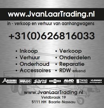 Openingstijden J. van Laar Trading in – verkoop en verhuur van aanhangwagens.